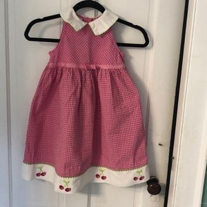 Pink gingham sundress w/cherries in white hem